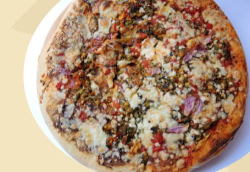 Pizza de flor de calabaza y queso Oaxaca